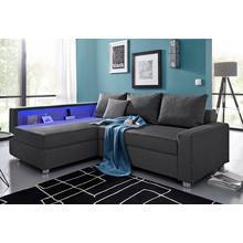 Salon d'angle Lynn en tissu structuré avec éclairage LED et port USB