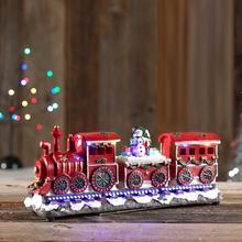 Trein met kerstdeco en verlichting