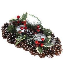 Kerststuk met kaarsenhouders