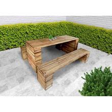 Set van tuintafel + 2 zitbanken