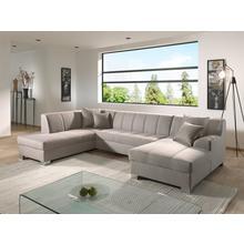 Salon d'angle Solange en tissu structuré avec fonction lit