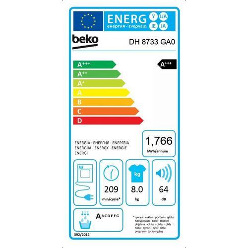 Condensatiedroogkast met warmtepomp BEKO DH 8733 GA0