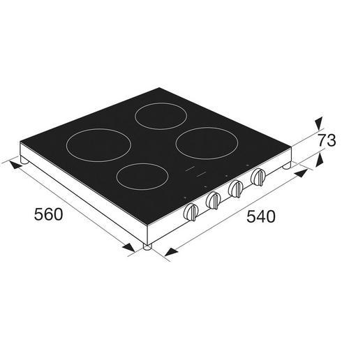Vrijstaande vitrokeramische kookplaat ETNA KCV154WIT