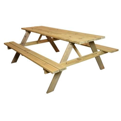 Houten picknicktafel met banken