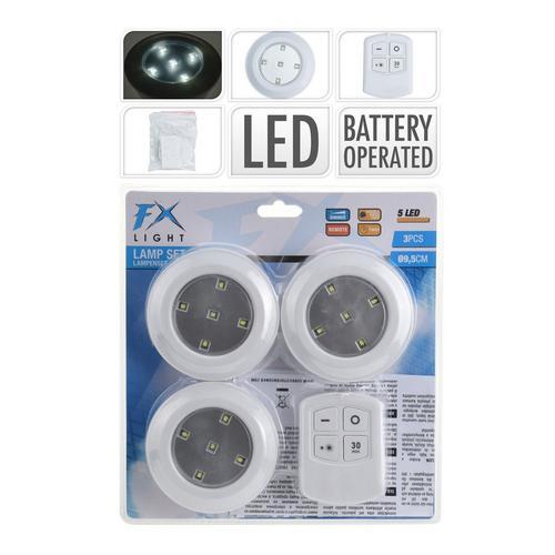 Set van 3 led-lampen