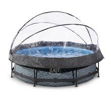 Zwembad met overkapping EXIT Stone Ø 300 x 76 cm met filterpomp - grijs