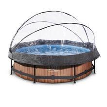 Zwembad met overkapping EXIT Wood Ø 300 x 76 cm met filterpomp - bruin