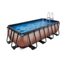 Zwembad EXIT Wood 400 x 200 x 100 cm met filterpomp - bruin
