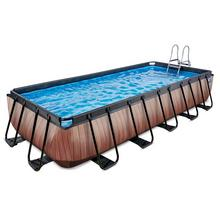 Zwembad EXIT Wood 540 x 250 x 100 cm met filterpomp - bruin