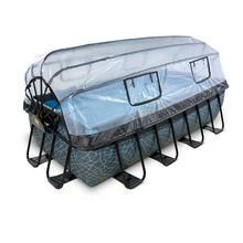 Zwembad met overkapping EXIT Stone 400 x 200 x 100 cm met filterpomp - grijs