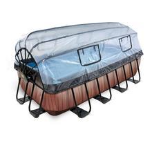 Zwembad met overkapping EXIT Wood 400 x 200 x 100 cm met filterpomp - bruin