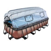 Zwembad met overkapping EXIT Wood 540 x 250 x 100 cm met filterpomp - bruin