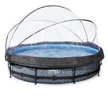 Zwembad met overkapping EXIT Stone Ø 360 x 76 cm met filterpomp - grijs