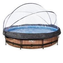 Zwembad met overkapping EXIT Wood Ø 360 x 76 cm met filterpomp - bruin