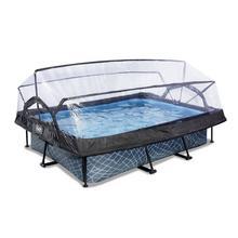 Zwembad met overkapping EXIT Stone 300 x 200 x 65 cm met filterpomp - grijs