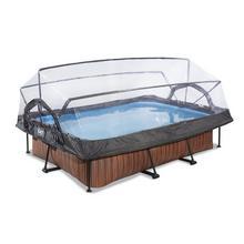 Zwembad met overkapping EXIT Wood 300 x 200 x 65 cm met filterpomp - bruin