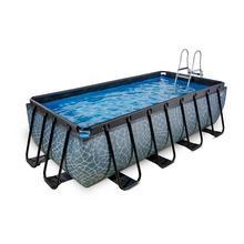 Zwembad EXIT Stone 400 x 200 x 100 cm met filterpomp - grijs
