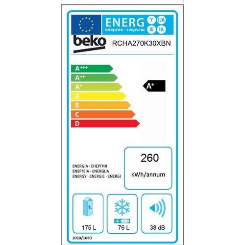 Combiné réfrigérateur congélateur BEKO Comfort Line RCHA270K30XBN