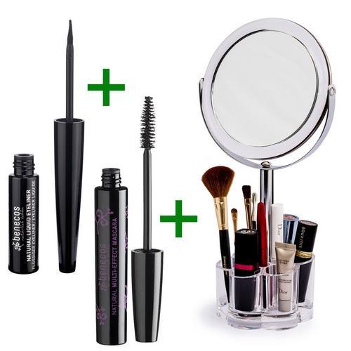 Set spiegel + mascara multi-effect + vloeibare eyeliner BENECOS
