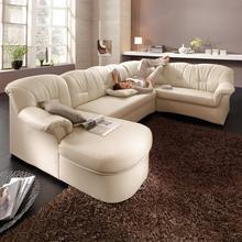 Grand salon d'angle Nathalie en simili cuir
