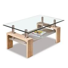 Moderne salontafel met glazen bovenblad