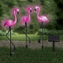 Lot de 3 lampes solaires 'Flamants roses'