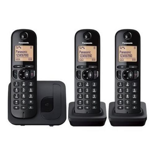 PANASONIC KX-TGC213BLB - Téléphone sans fil avec ID d'appelant/appel en instance DECT\GAP (conférence) à trois capacité d'appel noir + 2 combinés supplémentaires