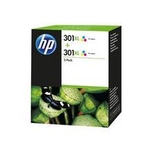 HP 301XL - Pack de 2 à rendement élevé tricolore base colorant originale cartouche d'encre pour Deskjet 15XX, 2050A J510, 2054A 25XX Envy 45XX, 55XX Officejet 26XX, 46XX
