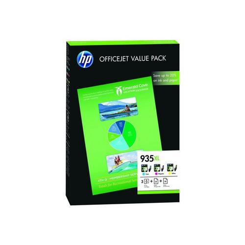 HP 935XL - Pack de 3 jaune, cyan, magenta originale cartouche imprimante/kit papier pour Officejet 6812, 6815, 6820; Pro 6230 ePrinter, 6830, 6835