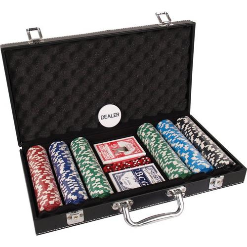 Pokerset koffer kunstleer 300 chips valu