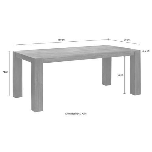 HOME AFFAIRE table de salle à manger Maggie, en acacia massif, trois largeurs différentes et deux épaisseurs pieds