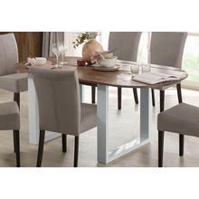 HOME AFFAIRE table de salle à manger Lagos, en beau pin massif, avec des pieds métallaqué blanc, deux tailles différentes