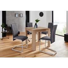HOMEXPERTS ensemble de salle à manger Nick1-Mulan, lot 5, Table en chêne brut sciage, largeur 80 cm