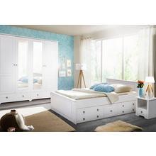 HOME AFFAIRE set pour chambre à coucher Hugo, lot de 4, Lit 180 cm, garde-robe 5 porteset 2 chevets