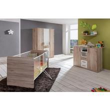 set complet pour chambre de bébé Bergamo, lot 3, Lit + commode à langer 3 portes Armoire