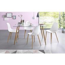 ensemble de salle à manger, lot 5, Table carrée en verre avec 4 chaises (coque plastique)