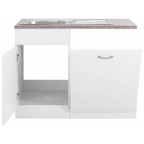 WIHO KUCHEN meuble d'évier Kiel, 110 cm de large, y compris porte/poignée/plinthe pour le lave-vaisselle