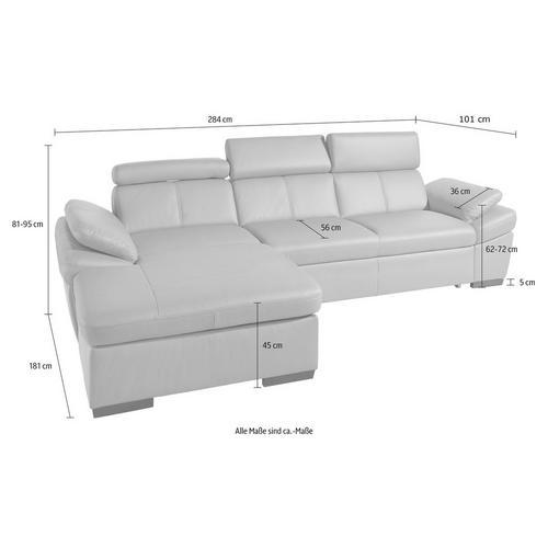 EXXPO - SOFA FASHION canapé d'angle, avec réglage de l'appuie-tête et l'accoudoir, en option fonction lit
