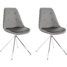 eetkamerstoel Pepita, 2-delig, zitcup bekleed met geweven stof, zitkussen kunstleder,verchroomd metalen frame