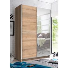 armoire à portes flottantes, avec miroir, tringle vêtements télescopique et étagèressupplémentaires
