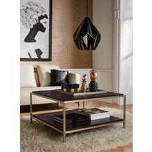 LEONIQUE table basse Cherlen, avec deux étagères et un cadre doré, carré