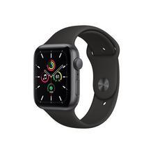 APPLE Watch SE (GPS) - 44 mm espace gris en aluminium montre intelligente avec bande sport fluoroélastomère noir taille de 140-210 S/M/L 32 Go Wi-Fi, Bluetooth 36.2 g
