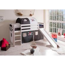 TICAA lit haut Manuel, avec sommier roulant à lattes et ensemble textile