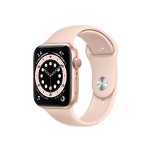 APPLE Watch Series 6 (GPS) - 44 mm goud aluminium smart met sportband fluoroelastomeer roze zand bandgrootte 140-210 S/M/L 32 GB Wi-Fi, Bluetooth 36.5 g