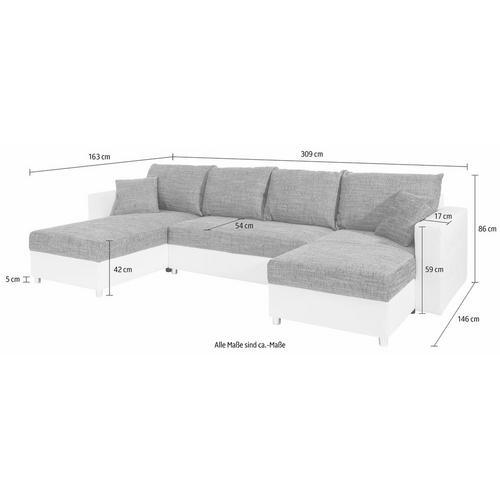 SIT & MORE U-salon, inclusief bedfunctie en opbergruimte
