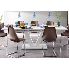table de salle à manger Andy, avec fonction coulissante, 2 largeurs (140-180 cm ou 180-220 cm), blanc ultra brillant