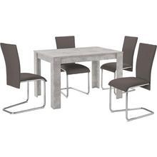 HOMEXPERTS ensemble de salle à manger Nick2-Mulan, lot 5, avec 4 chaises, table en béton, largeur 120 cm
