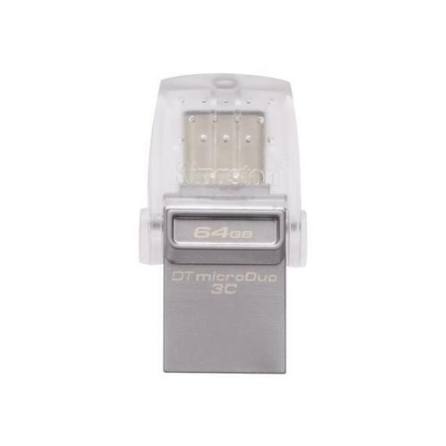 KINGSTON DataTraveler microDuo 3C - Clé USB 64 Go 3.1 / USB-C pour Apple MacBook (Early 2015, Early 2016, Mid 2017); Air (Late 2018); Pro 2017, 2018)