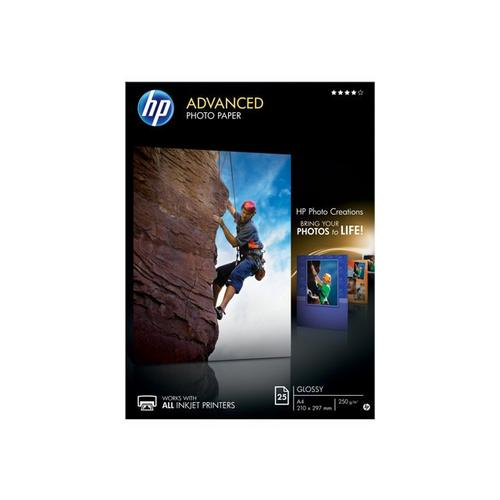 HP Advanced Glossy Photo Paper - Glanzend A4 (210 x 297 mm) 250 g/m² 25 vel(len) fotopapier voor Officejet 80XX; Photosmart B110, Wireless B110; Smart Tank Plus 55X, 571, 655