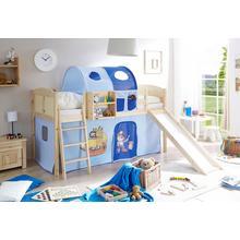 TICAA set pour chambre d'adolescent Ekki, avec toboggan et ensemble textile, pin massif verni naturel